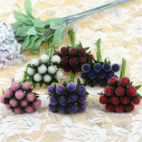 berry decoration - 12pcs Small Berries Artificial Flower Red Cherry Stamen Pearlized Wedding simulation glass pomegranate Decoration