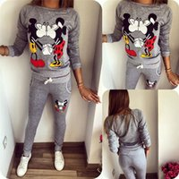 Wholesale Women s Jersey Cartoon Printing Campaign Sweater Suits Long Sleeved Casual Sportswear Sweater Suits Tops And Pants dxh317