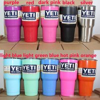 Wholesale 30 oz YETI Rambler Tumbler Cup Purple Pink Blue Light Blue Orange Light Green Stainless Steel Tumbler Mug IN STOCK