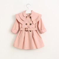 aa girls - Hug Me Baby Girls Tench Coat Button Cardigan Floral New Autumn Winter Long Tench Coat AA