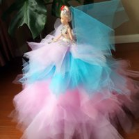 baby doll pageant dress - 2016 New Style Pageant Party Doll Accessories Gifts Toys barbie doll Bride White wedding Dress Clothes Gown For Barbie