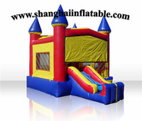 plastic playground - high quality inflatable playground inflatable bounce house with silde combined slide