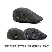 Wholesale British Style Checked Unisex Woolen Flat Cap Cabbie Hat Gatsby Ivy Cap Irish Hunting Hat Newsboy Autumn Winter Fashion Street Hats Caps