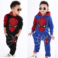 Wholesale Kids Spiderman Sweaters - Wholesales New Children Boys Spiderman Spring Autumn Clothing Sets Cartoon Cotton Casual Kids Sets Hooded Sweater and Pants Free Shipping