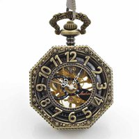 Wholesale Bronze tone Cover gear design Mechanical pocket watches for sale with chain Hand Wind up modern pocket watches online shopping