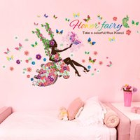 american classic sofa - 100pcs Swing Flower Fairy Entrance living room bedroom children s room sofa TV wall decorative girl room wall stickers SK9004