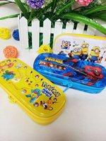 achat en gros de tsum minion-Grossiste étuis à crayons Tinplate Fer crayon boîte Pony Tsum Frozen Minions Avec fermeture à glissière