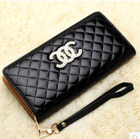 Wholesale 2015 New High end European and American fashion brand lady candy colored clutch purse Quilted women wallets CC bright skin bag
