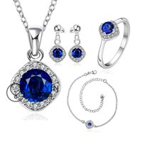 bargain wedding rings - Bargain sale artificial sapphire jewelry Wedding gift Sets Earring Ring Necklace Anklet bijouterias for bridal jewelry sets