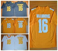 Wholesale Peyton Manning Jersey Tennessee Volunteers College Peyton Manning Football Jerseys Cheap All Stitched Grey Orange White Color