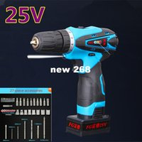 battery cordless screwdriver - 25v portable Rechargeable Lithium Battery multifuctional Cordless Electric Drill bit Wrench Electric Screwdriver hand Power Tool