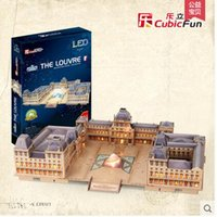 Wholesale Le cube Le Louvre Museum D building three dimensional model of adult educational toys toy manual DIY Model Puzzle