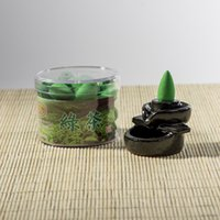 al por mayor el té verde auténtico-2016 Chinese Authentic Health Incienso Fragancia de la serie backflow Humo Green Tea Incense Fow Concepto de partículas huecas de una caja de 40 tabletas