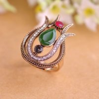 band lilies - 2016 New Arrival Vintage Women Rings Antique Gold Plated Blue Water Drop Acrylic Lily Flower Ring Brand Turkish Jewelry Red Anel