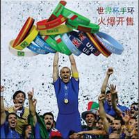 Wholesale Unisex National flag Silicone Jel bracelet World cup European cup Olympic Games souvenir bracelets bangle wristband rope