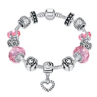 baking plates - Hot Sale Fashion Pandora Silver Plated Bracelet Inlay Crystal Retro Baking Varnish Carved Flowers