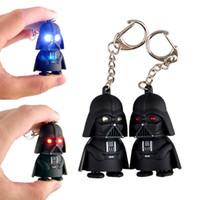 Wholesale Plastic Black Star Wars Darth Vader LED Keychain Luminous Music Light Creative Kids Accessory