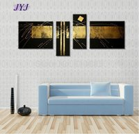 Wholesale Black and Gold Handmade Modern Abstract Oil Painting On Canvas Wall Art Gifts Top Home Decoration
