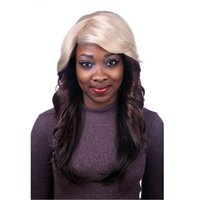 Wholesale Super Top Quality Long Wavy Ombre Blonde Color Synthetic Hair Wigs Capless Wigs African American Wigs