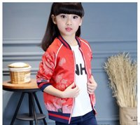 Wholesale Hot sale fall Flower embroidered bomber jacket outerwear green jackets for girl kids flight coats Retro Style clothing
