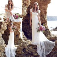 beach brush - 2016 New Summer Anna Campbell Lace Beach Bohemian Wedding Dresses Cap Sleeves Open Back Brush Train Sheath Bridal Gowns
