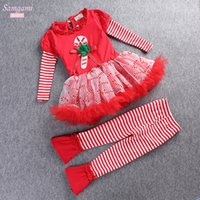 Wholesale 2016 New Girls Christmas Dress Outfits sets Kids D flower tshirt dress and stripe Flared trousers Suits Xmas sanda outfits sets Pajamas