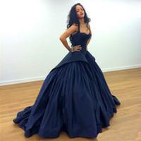 Wholesale New Arrival Rihanna Ball Gown Navy Blue Celebrity Formal Evening Dresses Prom Dress Long Train Red Carpet Dresses Vestidos