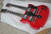 Haute qualité chaude vente sg 6/12 cordes double cou guitare électrique avec corps en acajou en couleur rouge