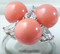2016 hot acheter La bague perle de jade bracelet en argent boucle d'oreille Taille necklacePink Coral 3 Perles de Cristal Anneau 18KWGP: 7.8.9