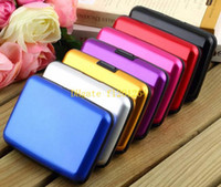 Wholesale 100pcs Aluminum wallet RFID blocking card case purse card holder Smooth surface Mix colors