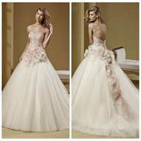 adorn designs beads - 2016 New Design A Line Wedding Dresses Beaded Handmade Flowers Adorned Bridal Gowns Custom Backless Cameo Lace Appliques Handmade Flowers