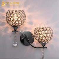 Wholesale K9 crystal wall light living corridor golden stair crystal wall sconce bedroom bedside crystal wall lamp Modern Sconces Bracket light New