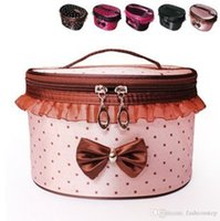 Wholesale NEWBRAND Women Lace and bow Cosmetic Bag Travel Makeup Make up Storage Organizer Box Beauty Case Rose red dots