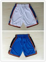 Wholesale High Quality Oklahoma Kevin Durant Russell Westbrook Basketball Sports Shorts In Blue White Hot Sale