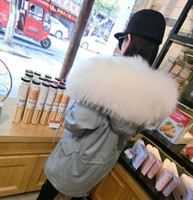 Wholesale Mr Mrs style Furs Jacket super raccoon collar women windbreaker coat with Real fox fur Liner Detachable