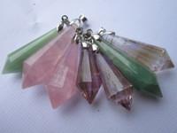ametrine jewelry - Natural Rose Quartz Amethyst ametrine Green Aventurine Jade Pendant drop pendant Men fashion jewelry pendant