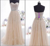 Wholesale Elegant Cheap ready to ship sweetheart evening dresses champangne sequined formal evening gowns long women wedding dress