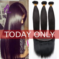 Wholesale Top A Mink Brazilian Virgin Hair With Closure Brazilian Straight Hair With Closure Ear To Ear Lace Frontal Closure With Bundles