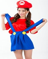 animations uniforms - Halloween super Mario game animation Mario overall modelling cosplay uniform for women