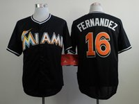 Wholesale Miami Marlins Jose Fernandez Black Jersey Discount Cheap Baseball Shirts Men s Baseball Uniforms Hot Sale Baseball Wear White In Sock