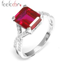 Wholesale Emerald Cut Fashion Gem Stone For Women ct Pigeon Blood Red Ruby Ring Set Solid Genuine Solid Sterling Silver