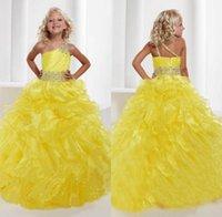al por mayor niñas vestidos formales pagent-2016 nuevas muchachas de un hombro vestido de bola de los vestidos de amarillo pagent los plisados Organza con gradas moldeados de Fajas princesa vestidos de los vestidos formales para niñas