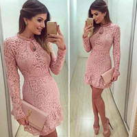 Wholesale Womens Bodycon Cocktail Lace Dress Ladies Evening Party Short Mini Round Collar Long Sleeve Pink Hollow