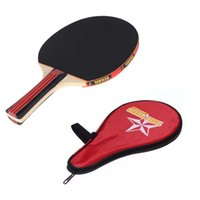 Wholesale New Arrival Long Handle Shake hand Table Tennis Racket layer Wood Pingpong Paddle with Waterproof Carry Bag Pouch H9781
