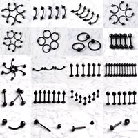 Wholesale Punk Black Surgical Steel Labret Lip Pierce Nipple Navel Belly Button Eyebrow Bar Ring Body Piercing Jewelry