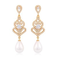 Wholesale Mjie Fashion Pearl AAA CZ Diamond Real Gold Platinum Plated Stud Earrings For Women Wedding Jewelry Top Quality