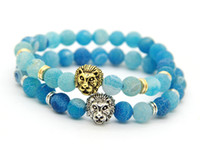 antique lion head - 2016 Mens Jewelry mm Sky Blue Weathering Agate Stone Antique Silver Real Gold Plated Lion Head Bracelets