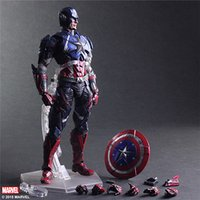 arts spiders - Play Arts Kai The Avengers Superhero Captain American Spider Man The Black Widow Collectible Action Figures Best Christmas Gift