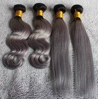 Cheap ombre hair 1B grey Brazilian Peruvian Malaysian Indian virgin human hair body wave and straight hot selling