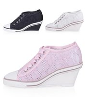 ash genial - Newest Fashion Ash Genial Wedge Sneakers Net Mesh Lace Hollow High top Summer Trainers On Hot Sale Women s Sport Shoes Size